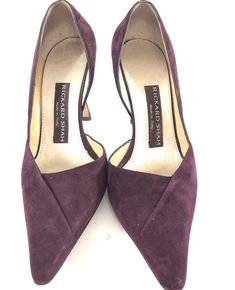 39d70eddfad Details about Rickard Shah Suede Leather Pumps Burgundy D orsay 7.5 Heels  Made In Italy