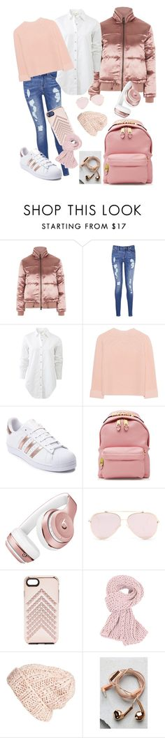 """Metallic Pink - Puffer Jackets Outfit"" by bxbytrendy16 ❤ liked on Polyvore featuring Topshop, Tommy Hilfiger, rag & bone, iHeart, adidas, Moschino, Beats by Dr. Dre, Rebecca Minkoff, Free People and Happy Plugs"