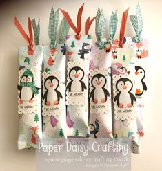 Last month's customer thank you gifts. Little penguin pouches, each holding a Twix finger. #penguinplace #stampinup #paperdaisy #handmadecard #tutorial #youcanmakeit #papercrafting #lovestamping #beingcreative #simplestamping #greetingscards #cardmaking #papercrafts #crafting #cardmaker #stamps #stamping #rubberstamping #diecutting Paper Daisy, Card Maker, Thank You Gifts, Stuff To Do, Penguins, Stampin Up, Give It To Me, Merry, Paper Crafts