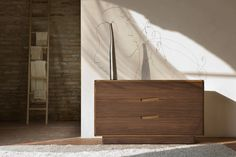 MALIBU' chest of drawers made of canaletto walnut wood with three drawers on metal runners. Design By MAAM