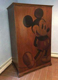 AWESOME Mickey Mouse Wooden Entertainment Center / TV Armoire & Coffee Table for sale online Mickey Mouse House, Mickey Mouse And Friends, Mickey Minnie Mouse, Disney Home Decor, Disney Crafts, Casa Disney, Disney House, Mickey Bathroom, Mickey Decorations