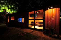 Custom Shipping Container Home In Austin.  Small Scale Shipping Container Prefab Architecture Design Build Project.
