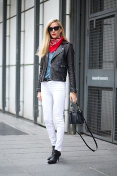 Joanna Hillman in white jeans, denim & leather with a bandanna - classic good looks.