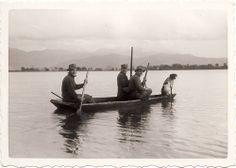 Lago di Fondi - Family photo of duck hunters on the brackish water north of Fondi, near Terracina,1950's.
