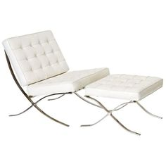 mies van der rohe chairs white leather - Google Search