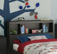 Black-Bookcase-Headboard-Twin-Storage-Nightstand-Kids-Shelves-Bedroom-Furniture