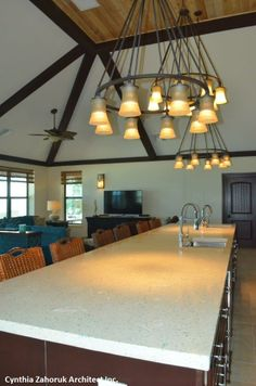 Great Room, featuring Custom Sandblasted faux beams with an Espresso finish.