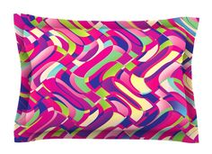 Colorful Movement by Dawid Roc Abstract Cotton Pillow Sham