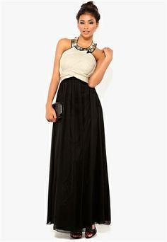 Chi-Chi Diamante Maxi Dress Black