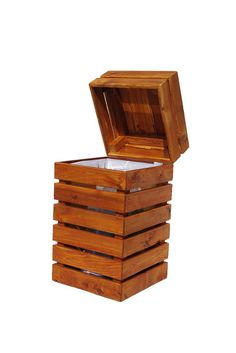 """This beautiful handcrafted trash can is made from 100% Western red cedar and the square paneling can """"add charm to small spaces and break up large sprawling areas."""""""