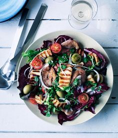 Gourmet Traveller WINE Greek wine match recipe for barbecued chicken, haloumi and green olive salad