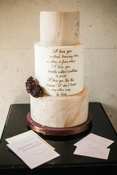 Marble Wedding Cake with Romantic Quote | Photo: Nelwin Uy | Cake: Cakeshop by Sonja