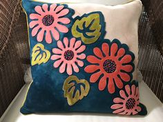 Pop Art Posies wool pillow.  From a kit by Wooly Lady.
