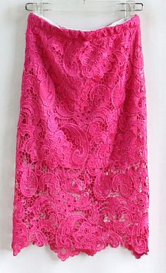 Rose Red Hollow Lace Bodycon Skirt