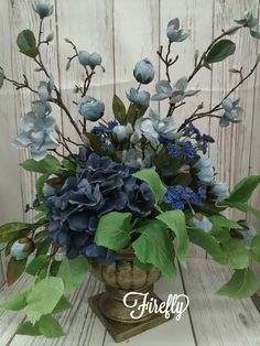 Silk hydrangeas floral by Firefly Dining Room Centerpiece, Centerpieces, Cut Flowers, Silk Flowers, Silk Flower Arrangements, Hydrangeas, Florals, Blues, Wreaths