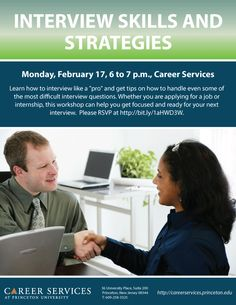 Interview Skills & Strategies, Monday, February 17, 6 to 7 p.m., Career Services