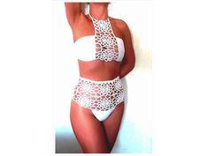 White Swimsuit, High Waisted Bikini, Crochet Swimsuit, Sexy Bikini Set, Two Piece Swimwear, Bridal Bikini, Sexy Swimsuit, Boho Swimsuit by MartimaHandMade on Etsy