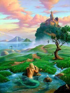 Prince and the Mermaid art by Jim Warren Long Beach, Mythical Creatures, Sea Creatures, Fantasy World, Fantasy Art, Jim Warren, Angel Readings, Free Angel, Angel Guidance