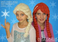 DIY Free Pattern Tutorial Disney Frozen Elsa Anna Yarn Hair Wig Wigs Costume Kids Adults with YouTube Video by Naztazia