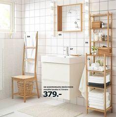 Salle de bains blanche et bois du catalogue Salle de bains Ikea 2015