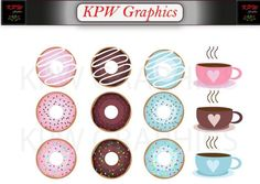Coffee and Donuts Clip-art in a PNG format. Personal & Small Commercial use Coffee And Donuts, Png Format, Clipart Images, Decorative Plates, Commercial, Clip Art, Invitations, Digital, Unique Jewelry