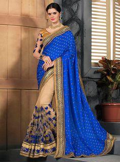 Royal Blue Jacquard Half N Half Saree 96783