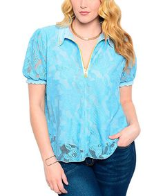 Another great find on #zulily! Baby Blue Lace Zip-Front Top - Plus #zulilyfinds