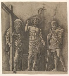 The Risen Christ between Saint Andrew and Saint Longinus - Andrea Mantegna