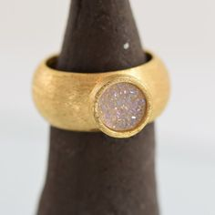 Gold ring, Wide ring, statement ring, Very flattering, gemstone, Druze Quartz, Gift ring,  Special ring, Designed ring ,RG18