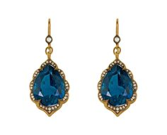 Cathy Waterman London Blue Topaz Arabesque Earrings