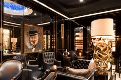 Crystal Bar Humidor Lounge at The Wellesley Hotel in London Goris Linton Associates Bar Lounge, Cigar Lounge Decor, Cigar Lounge Ideas, Cigar Lounge Man Cave, London Hotels, Wellesley Hotel, Hotel Lobby, Luxury Collection Hotels, Ultimate Man Cave