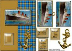 View Cruise liner and anchor on tartan Details