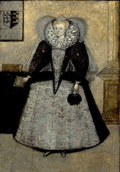 Unknown lady. Artist unknown. The crest on the wall indicates that this lady enjoys high status. This image is interesting as it conveys the stark silhouette of late 1590s dress.