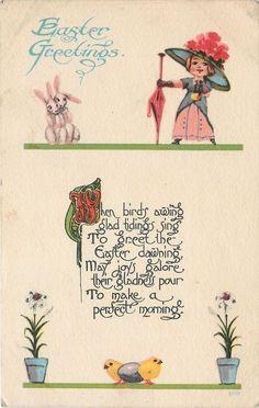 Easter~Fashionable Lady Shocks Pink Earred Rabbits~Huge Hat~Flowers~Chicks~1916