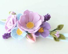 Felt Flower Wreath for Hair  Felt Flower Headband
