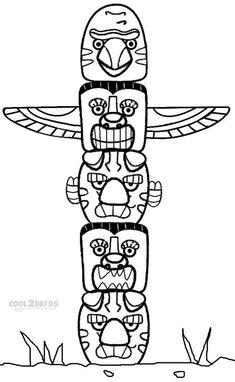 Totempole Yakari color page, cartoon characters coloring