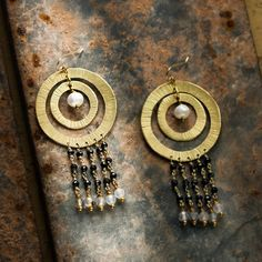 18K gold plated chandelier earrings with river pearl, black spinel, white labradorite stone, in hand hammered copper.  di FuocoTerra