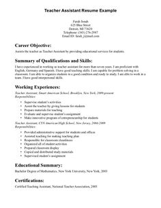 teacher assistant resume writing httpjobresumesamplecom420teacher - Sample Of Resume Objective