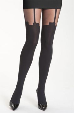 Pretty Polly 'House of Holland Super Suspender' Tights houseofholland suspenders designer accessories cute hosiery Suspender Tights, Nude Tops, Thigh High Socks, House Of Holland, Fashion Tights, Nice Legs, Groom Style, Black Tights, New Wardrobe