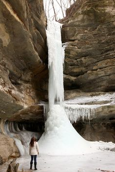 Frozen waterfalls at Starved Rock and Mathiessen State Park, Illinois