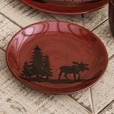 Moose and Bear Lodge Stoneware Moose Salad Plate