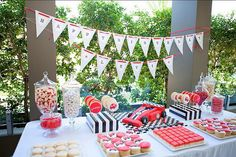 Grand Prix Ferrari, Race Car Birthday Party - Kara's Party Ideas - The Place for All Things Party Car Themed Parties, Cars Birthday Parties, Birthday Party Decorations, Party Themes, Party Ideas, Party Party, Race Car Birthday, 1st Boy Birthday, Birthday Ideas