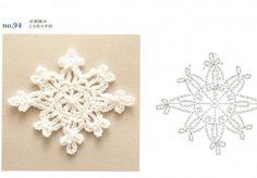 Ondori motif and edging designs Crochet Chart, Thread Crochet, Crochet Doilies, Knit Crochet, Christmas Charts, Crochet Christmas, Crochet Snowflakes, Holiday Ornaments, Diy And Crafts