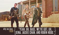 """Yeah. Uh, base, we've got, uh, Xena, Jackie Chan, and Robin Hood."""