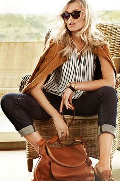 classic- Massimo Dutti S/S 2013. white with navy vertical lines. billowy. tan jacket / cardigan / bag. dark jeans. blonde hair