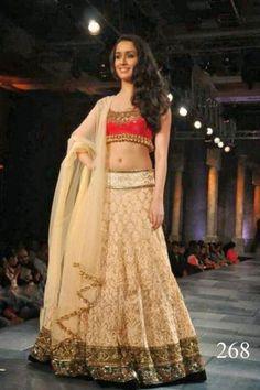 Shraddha Kapoor Cream Lehenga Choli At Mijwan Fashion Show 2012. Rs 4326 onwards