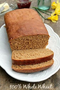 A Delicious Soft 100% Whole Wheat Bread Replace the vegetable oil with coconut or avocado oil and perfect!