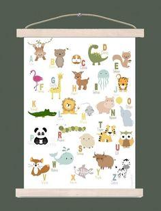 Met de ABC dieren poster leert je kindje op een speelse manier de letters van het alfabet kennen. A is van aap, B is van beer, C is van cavia, D is van......  #dieren #dierenposter #poster #kinderposter #ABC 3ABCposter #alfabet #kinderkamer #babykamer #jongenskamer #letters #leren #muurdecoratie #muur #wand #wanddecoratie #styling #inspiratie Jungle Theme Nursery, Nursery Themes, Baby Bedroom, Kids Bedroom, Baby Deco, Baby Posters, Nursery Paintings, Kids Room Design, Recycled Crafts