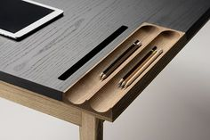 With the OLLLY designed by Pavel Vetrov for Zegen, everything you need to comfortably work and maintain a clean workspace is built right into the sleek, multi-functional desk. Bureau Design, Design Desk, Cool Furniture, Furniture Design, Office Furniture, Furniture Ideas, Furniture Removal, Furniture Vintage, Luminaria Diy
