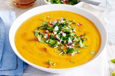 Thai sweet potato soup with coriander sprinkle